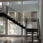 Contemporary Modern steel cable stairs #18B
